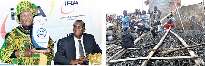 eft  ight s deputy chairperson phwa sebyala showing an award she won his was during a press conference at  office in akasero ampala ight is addunabbi ubega and raders look on after fire gutted their market at gaba landing sit