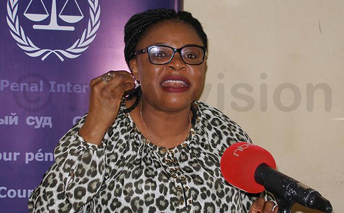 outreach officer aria amara abiny addressing the media at orthern ganda edia lub hoto by ackson itara