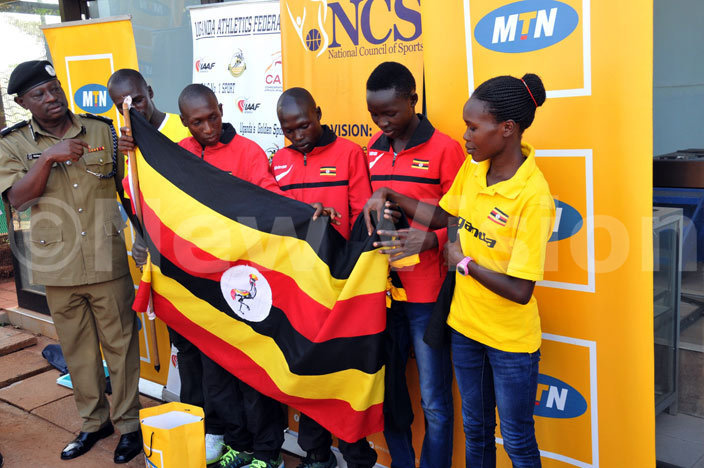 he team receives the national flag during the flag off at  offices in ugogo