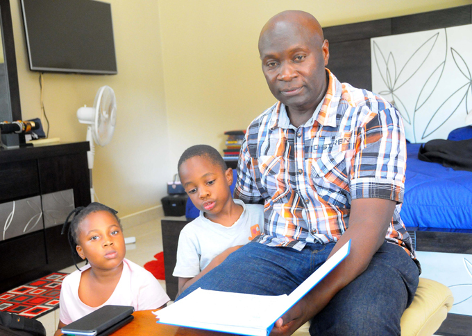eoffrey atovu with the children he had with hiona
