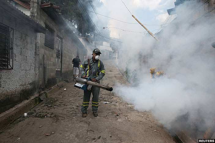 ity health workers fumigate the uadalupe community as part of preventive measures against the ika virus and other mosquitoborne diseases in anta ecla l alvador