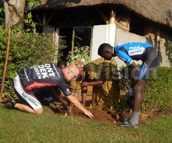 he riders plant a amboo grass in asaka on their way to isoro