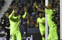 Messi hat-trick restores Barcelona's lead