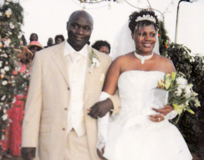 he atovus pictured on their wedding day