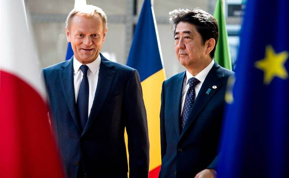 European Council President Donald Tusk and Japanese Prime Minister Shinzo Abe recently signed the JEEPA. Photo: European Council President/Flickr/Creative Commons CC-BY-NC-ND-2.0