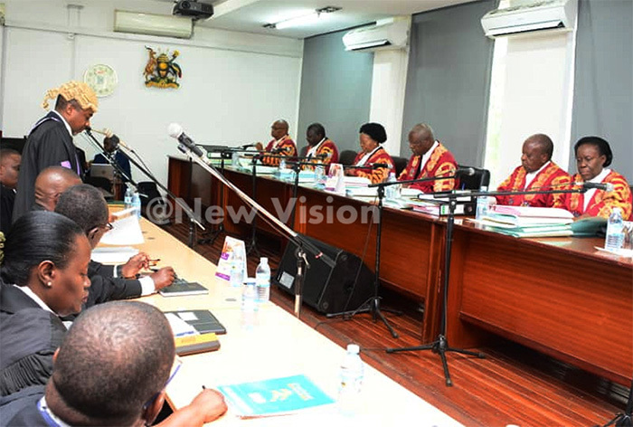 Supreme Court judges hearing the Age Limit appeals in Kampala in April 2019. Photo/File