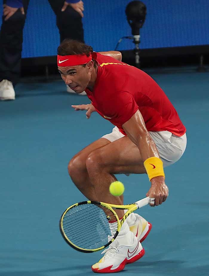 afael adal of pain hits a return in his mens singles match against avid offin of elgium during the  up tennis tournament in ydney on anuary 10 2020 hoto by lenn icholls