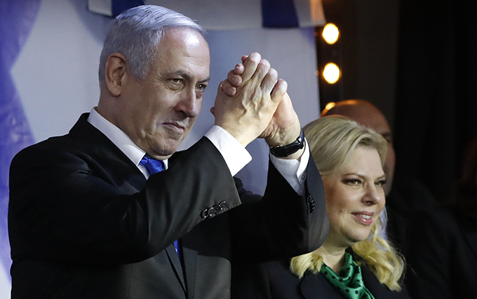 mbattled sraeli rime inister enjamin etanyahu declared victory in a leadership primary in his rightwing ikud party on ecember 26 ensuring he will lead it into arch elections nitial results showed etanyahu comfortably beating rival ideon aar though a final tally was expected to take several hours hoto
