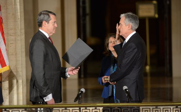 Jerome Powell (right) was recently sworn in as new Fed chairman