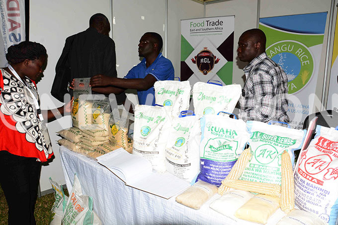 delegate examines grain products during exhibition at hite ands otel in ar es alaam