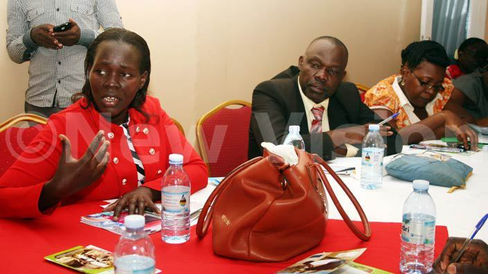 extreme right uperitendent of olice rene dibaa makes a point during the advocacy meeting on child domestic workers held at ureka hotel in tinda hoto by yet kwera
