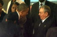 Obama shakes hands with Cuba's Castro at Mandela memorial