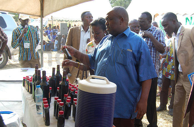 wesige checks out wine locally produced by farmers from bananas in unyangabu hoto by ilson siimwe