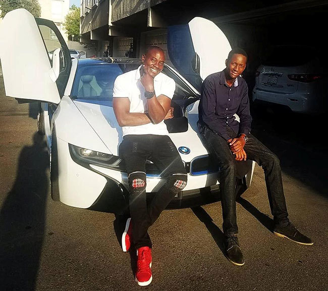 emdee iwanuka left with a friend during his birthday celebrations last month