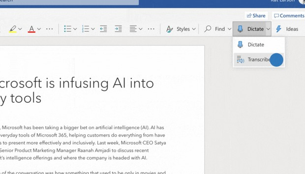Microsoft will bring its powerful cloud dictation and transcription services to Word in 2020