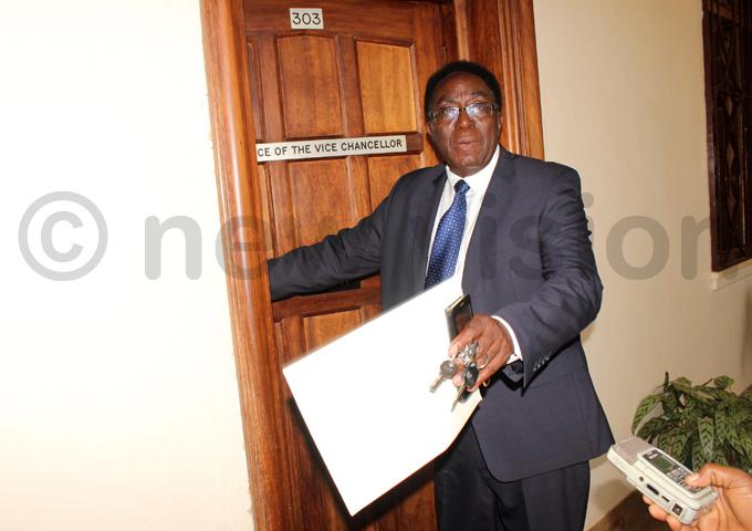 akerere niversity vice chancellor ohn dumba sentamu pictured outside his office hoto by ony ujuta