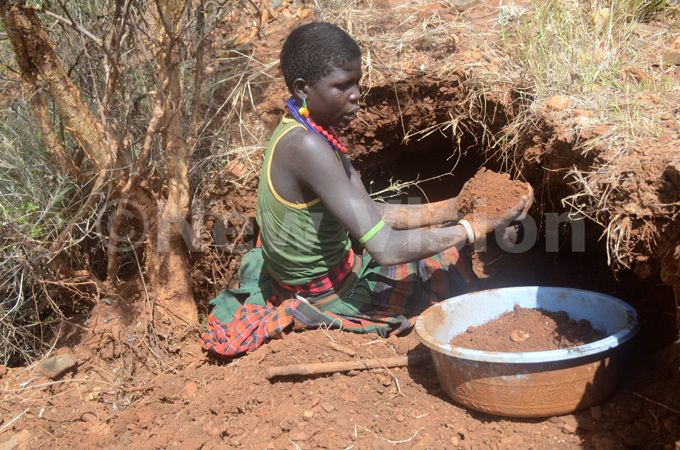 girl scooping rocks and soil suspected to be containing gold in oroto district in aramoja sub region