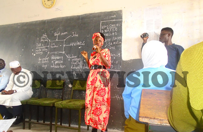 amutebi talking to students at akungulu emorial school