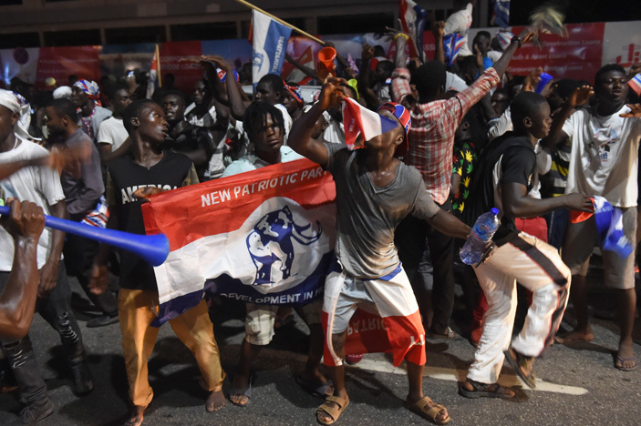 upporters celebrate as presidential candidate of the opposition ew atriotic arty ana kufoddo is declared elected by the lectoral ommission in ccra on ecember 9 2016     ius tomi kpei