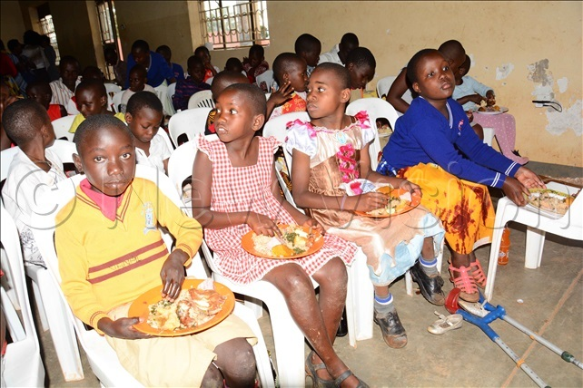 hildren with special needs enjoying a meal at acred eart inja aroli rimary chool in akiso district on aturday ovember 23 2019