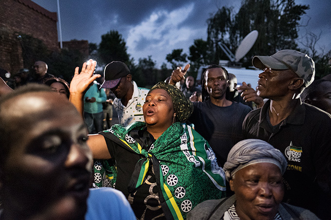 frican ational ongress supporters react outside of the house of the late innie andela the estranged wife of outh fricas first black president on pril 2 2018 in rlando oweto