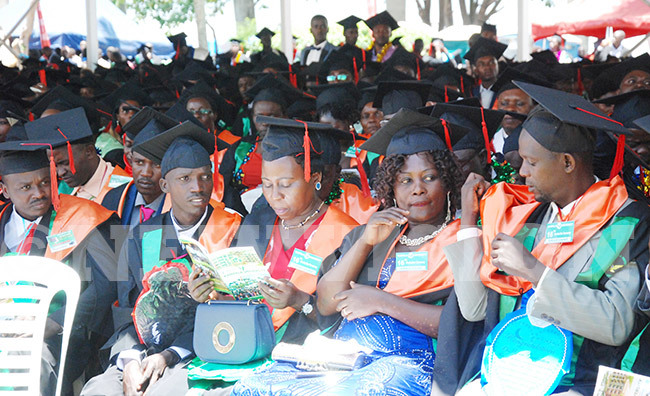 ome of the graduands during  the 16th graduation ceremony of ampala niversity