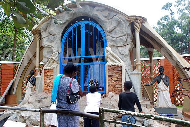 ome of the pilgrims praying at amugongo artyrs hrine