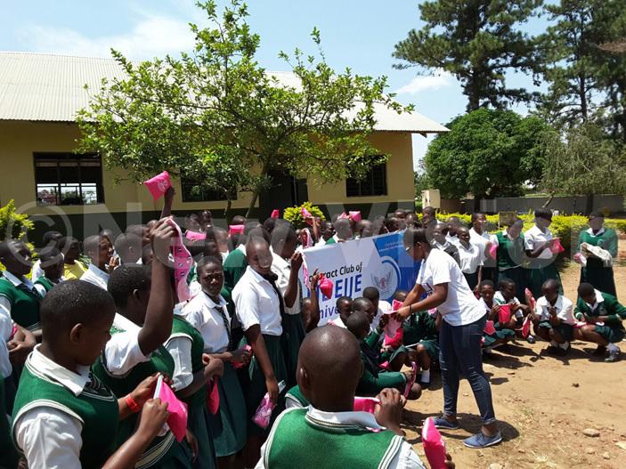 otaractors donating sanitary pads to students of dejje ocational school