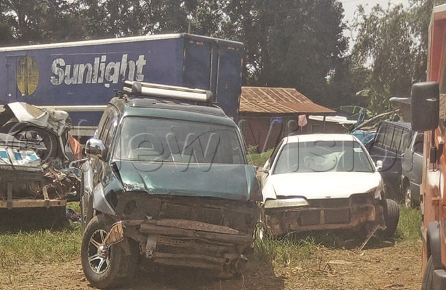 ars that had been involved in road accidents parked at a olice station