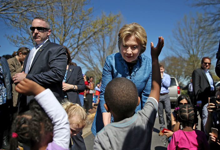 emocratic presidential candidate illary linton greets children outside of a polling station at outheast aleigh agnet igh chool on arch 15 2016 in aleigh orth arolina linton is campaigning in orth arolina before traveling to lorida to hold a primary night event   ustin ullivanetty mages