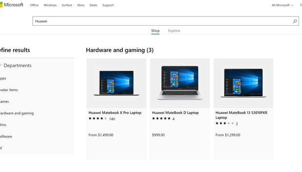 Huawei laptops quietly return to the Microsoft Store, though the federal ban remains in place