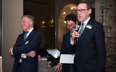 Jersey's Senator Ian Gorst speaking at the opening, with Joe Moynihan, CEO, Jersey Finance, far left and Philip Pirecki, head of the New York office, in the centre