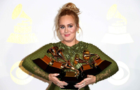 Adele wins big at Grammys with five awards