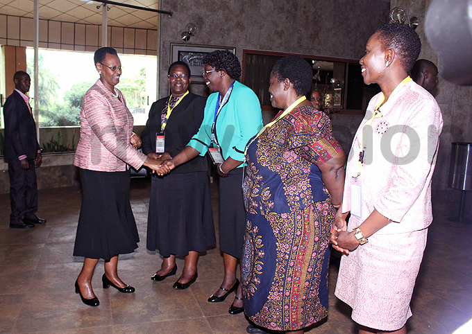 anet useveni being welcomed by education ministry permanent secretary ose assali ukwago  secretary general osie goi   director lizabeth abona and  programme director ictoria anobe isekye at mperial oyale otel hoto by ony ujuta
