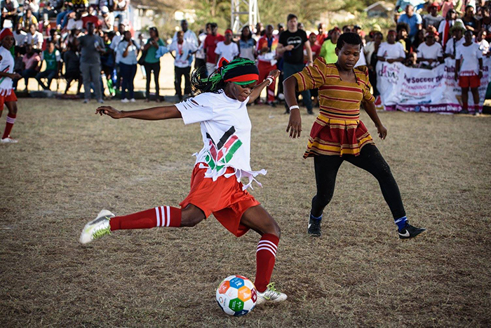 kenyan player taking on the gandan players during the lobal oals orld up airobi 2017 icture ourtesy of lobal oals orld up