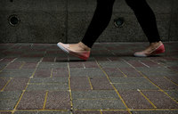 HK pavement glued to prevent vandalism