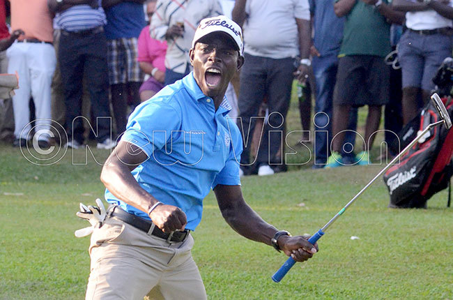 onald tile celebrates after sinking the winning putt during the ganda pen tournament at ntebbe lub ept 22 2018 hoto by ichael subuga