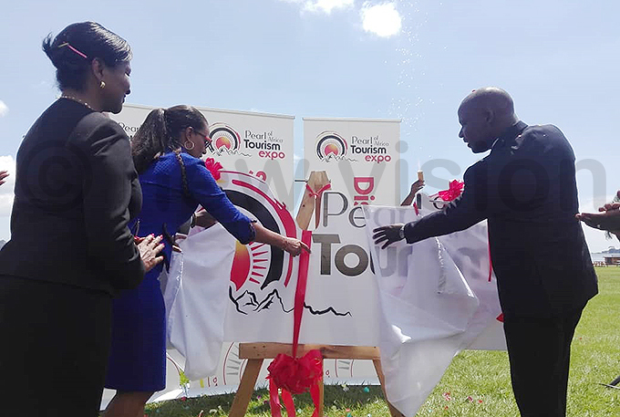 executive director ily jarova and tate inister for ourism odfrey iwanda at the launch hoto by li waha
