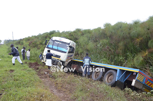 he trailer swerved off the road and into the swamp from the impact of the crash redit addy ukenya