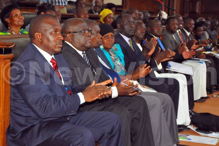 cross section of members of the uganda arliament listening to the  rime inister harles eter ayiga at ulange engo hoto by ilfred anya