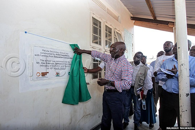 lex akooza ermanent ecretary for inistry of duction and ports launching a classroom block at aluda econdary chool in alabek efugee ettlement amwo istrictorthern gandahoto by ajarah alwadda